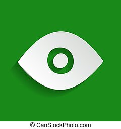 Eye sign illustration. Vector. Paper whitish icon with soft shadow on green background.