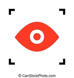 Eye sign illustration. Vector. Red icon inside black focus corners on white background. Isolated.
