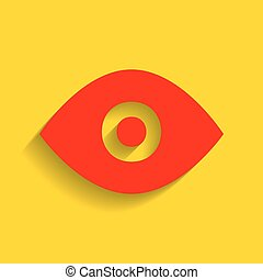 Eye sign illustration. Vector. Red icon with soft shadow on golden background.
