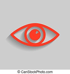 Eye sign illustration. Vector. Red icon with soft shadow on gray background.