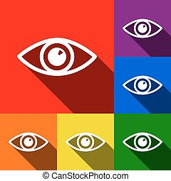 Eye sign illustration. Vector. Set of icons with flat shadows at red, orange, yellow, green, blue and violet background.