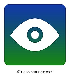 Eye sign illustration. Vector. White icon at green-blue gradient square with rounded corners on white background. Isolated.