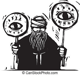 Eye Signs - Blindfolded man holds up signs with eyes on...