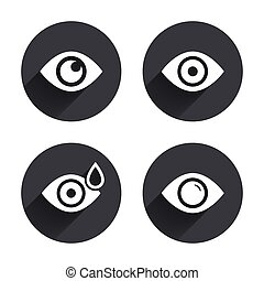 Eye signs. Eyeball with water drop symbols.