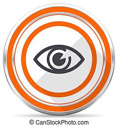 Eye silver metallic chrome round web icon on white background with shadow