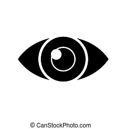 eye simple icon, vector illustration, black sign on isolated background