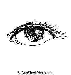 Eye sketch, hand drawn, vector