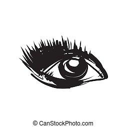 Eye sketch. Hand Drawn. Vector Illustration.