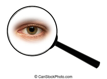 eye - A magnifying glass against white background enlarged...