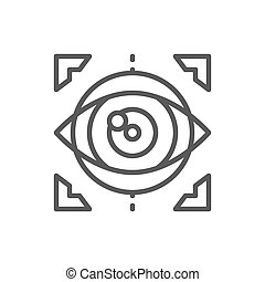 Vector eye surgery, lens replacement, laser vision correction line icon. Symbol and sign illustration design. Isolated on white background