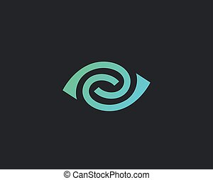 Eye swirl spiral vector logotype. Lined camera shutter media vision logo design. Abstract in yan photo video social icon.
