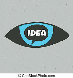Eye symbol with idea word. Vector illustration, EPS10
