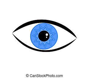 Eye - Symbolic blue eye over white