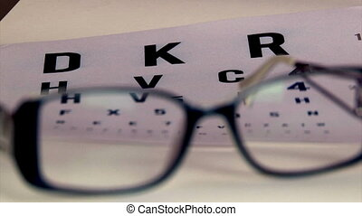 Eye test and eyeglasses, shallow depth of field