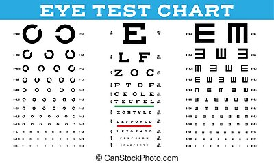Eye Test Chart Set Vector. Vision Test. Optical Exam. Healthy Sigh. Medical Care. Ophthalmologist, Ophthalmology. Glaucoma. Illustration