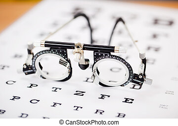 Eye Test Glasses On Snellen Chart - Closeup of eye test...