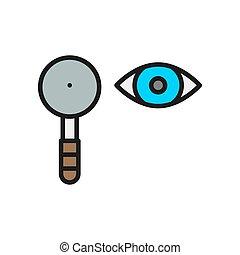 Eye test, scapula flat color line icon. - Vector eye test, ...