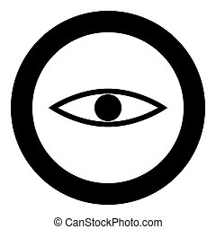 Eye the black color icon  in circle or round