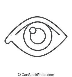 Eye thin line icon, anatomy and biology, ophthalmology sign, vector graphics, a linear pattern on a white background, eps 10.