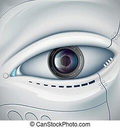eye., vecteur, robot, figure, lentille, appareil photo, futuris, stockage