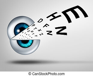 Eye vision concept eyesight for healthy eyes with good ocular focus using an open eye with an emerging chart to help focus for near sighted and far sighted retina and lens diagnosis from an optometrist for ophthalmology.