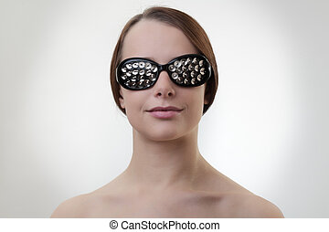 eye wear - sexy woman wearing glasses made up from drawing ...
