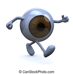 eye with arms and legs running