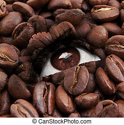 eye with coffee beans texture