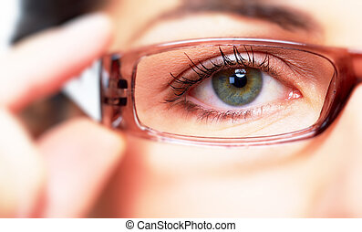 Eye with eyeglasses. - Eye of young woman with eyeglasses....