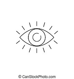Eye with eyelashes line icon. Look and Vision icon. Eye vector icon in flat