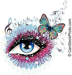 Eye with floral and music notes - Decorative eye with long...