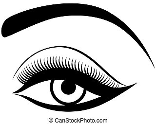 Eye with fluffy eyelid, black and white hand drawing vector...