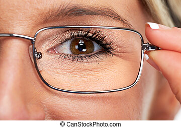 Eye with glasses.