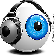 Eye with headphones over white. EPS 10, AI, JPEG