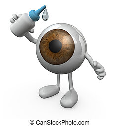 eye with legs and arms that you put eye drops - big eye with...