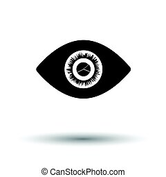 Eye with market chart inside pupil icon. White background...