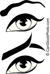 Eye with modern eyebrows - Black and white eye with eyebrows...