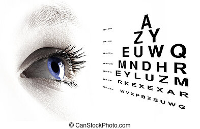 Blue eye with test vision chart close up