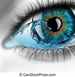 eye with water - part of the eye with water inside