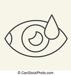 Eye with water drop thin line icon. Human vision outline style pictogram on white background. Drip into the eyes symbol for mobile concept and web design. Vector graphics.