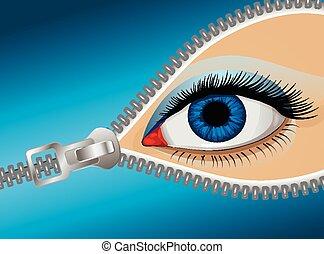 eye zipper - Eye of the man behind the zipper, vector art...