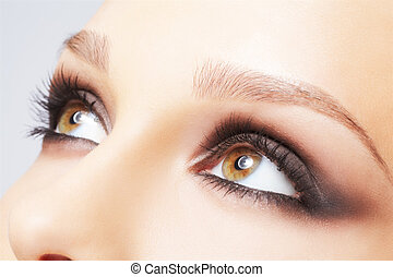 eye zone make up - close-up portrait of beautiful young ...