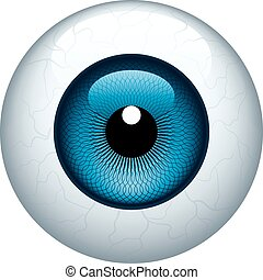 Blue eyeball isolated on white. Eps8. CMYK. Organized by layers. Global colors. Gradients used.
