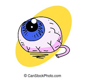 Eyeball cartoon hand drawn image. Original colorful artwork,...