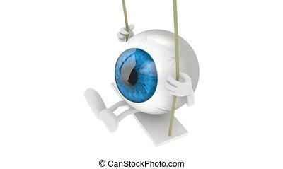 eyeball cartoon on a swing - blue eyeball with arms and legs...