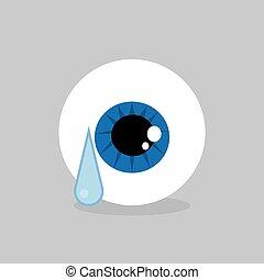 Eyeball Crying - Eyeball crying with single large tear