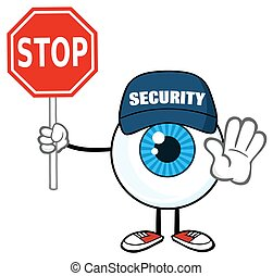Eyeball Guy Holding A Stop Sign