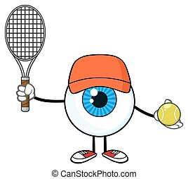 Eyeball Guy Holding A Tennis Ball