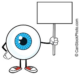 Eyeball Holding Up A Blank Sign