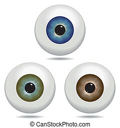 Eyeball - Illustrated eyeballs in blue, green and brown.